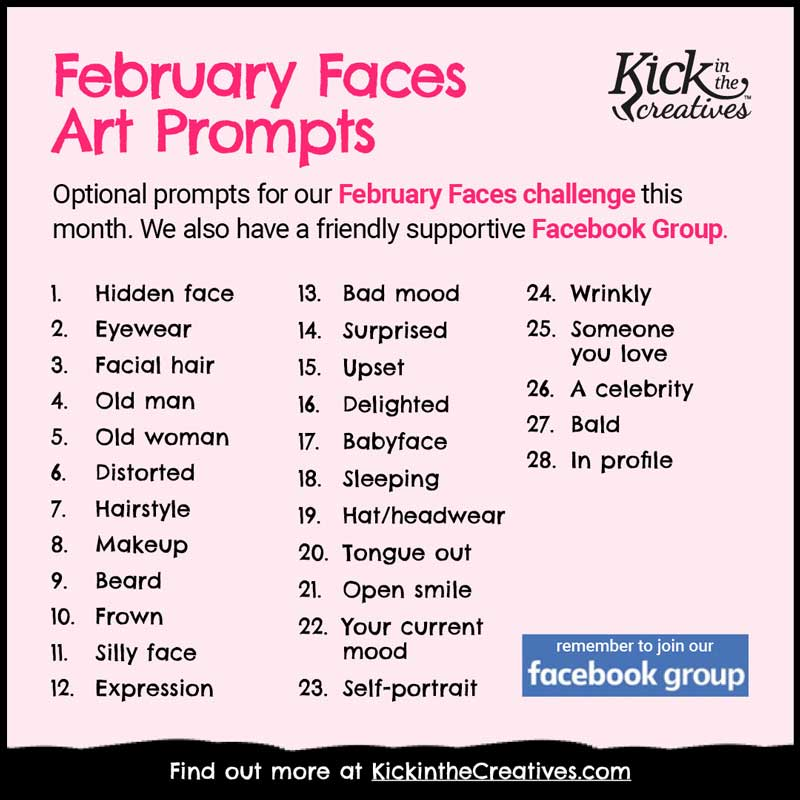 February Faces Drawing Prompts 2022