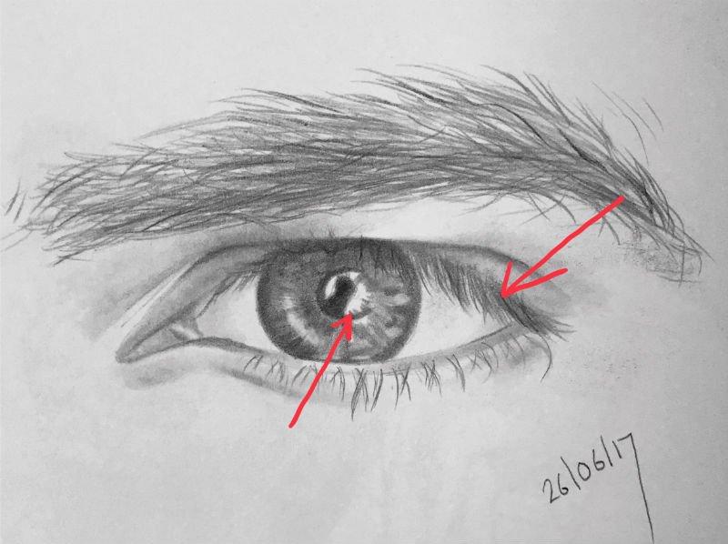 eyelash drawing and eye highlights