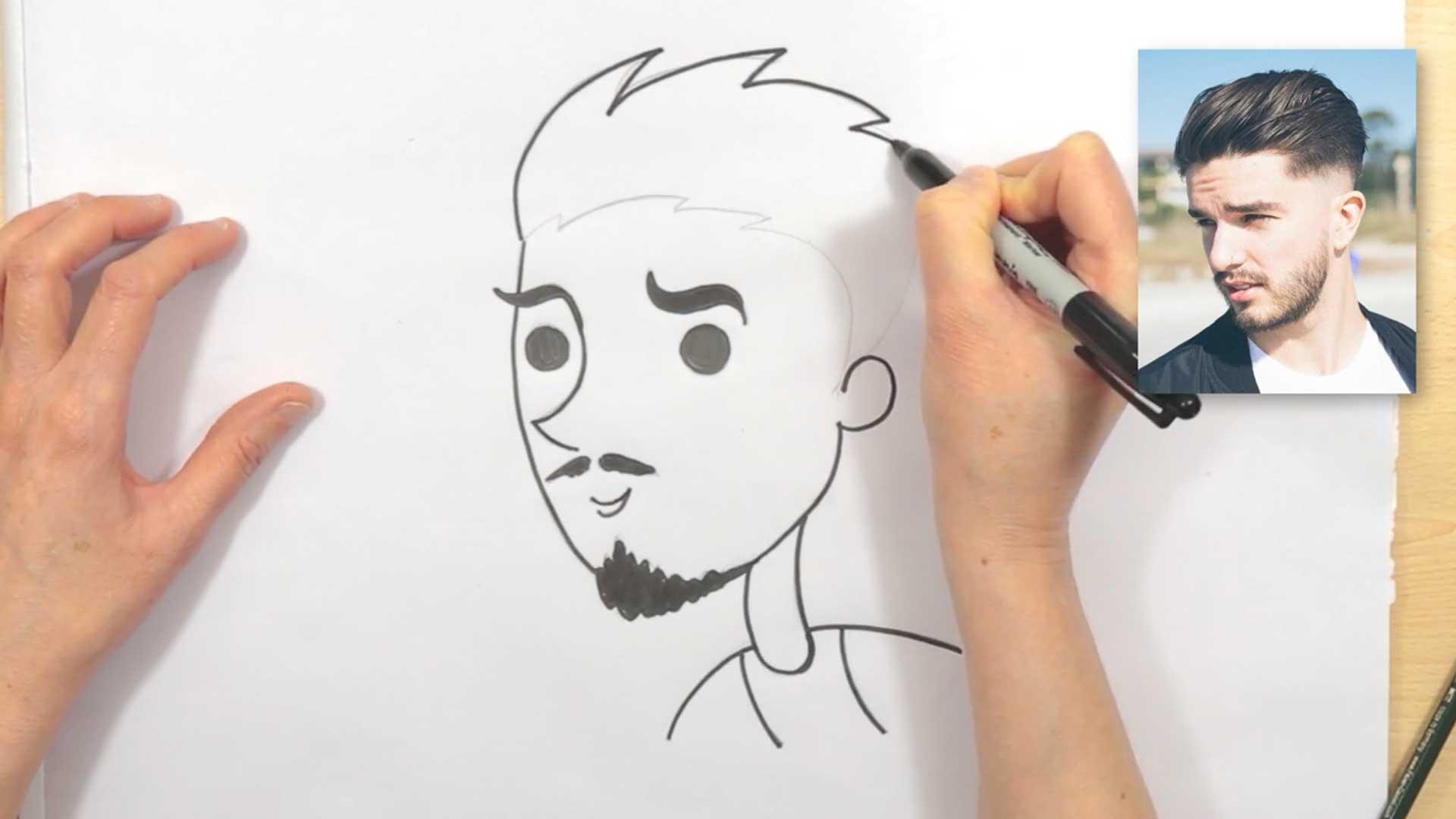 draw cartoon hair male