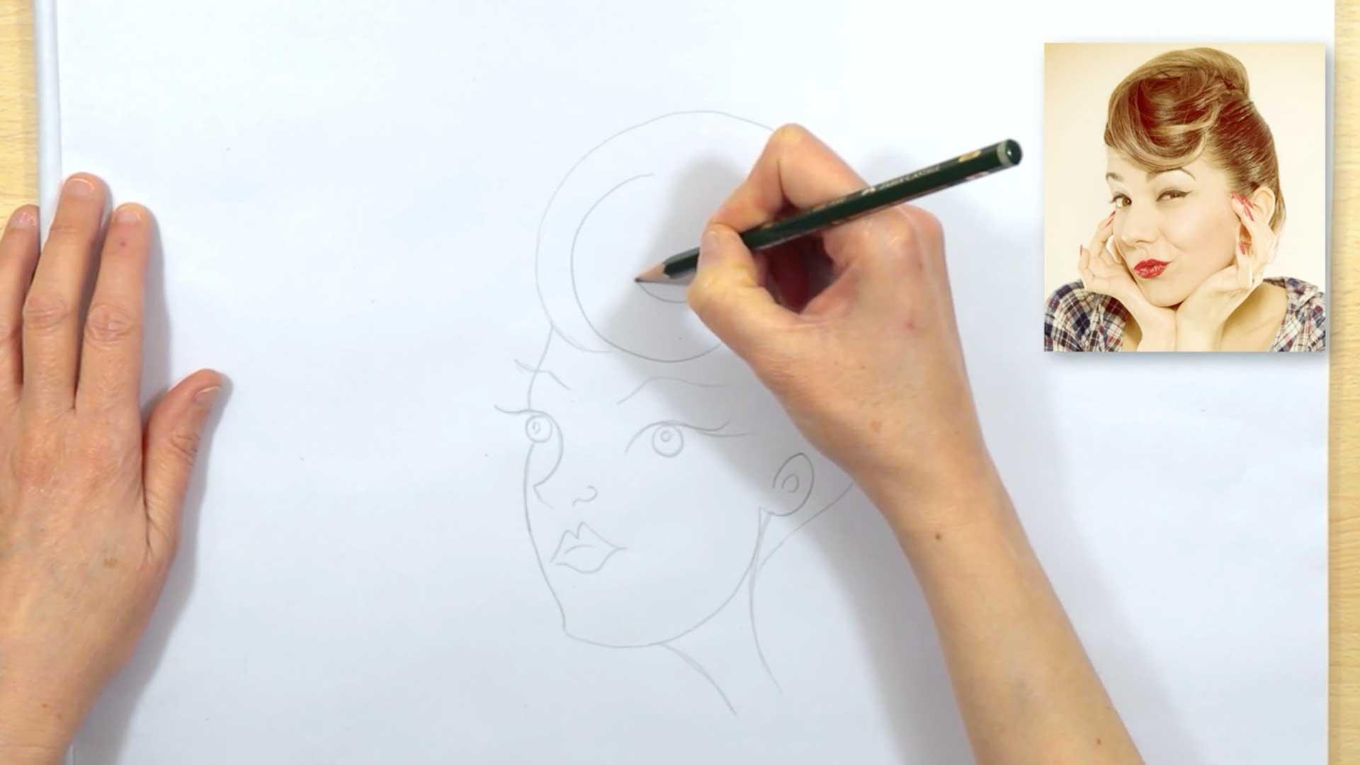 draw cartoon hair woman
