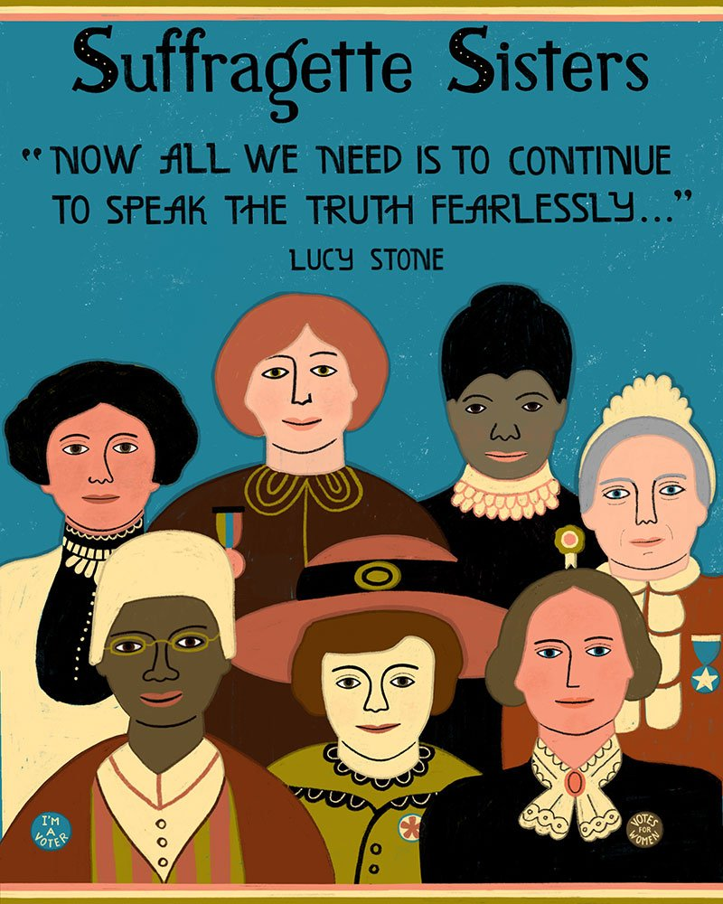 Karen Abend Suffragette Sisters digital illustration