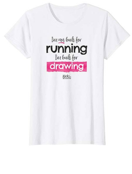 White running funny drawing t-shirt