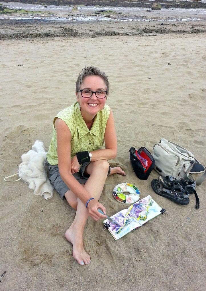 Lyne Chapman RHB urban sketching beach-painting