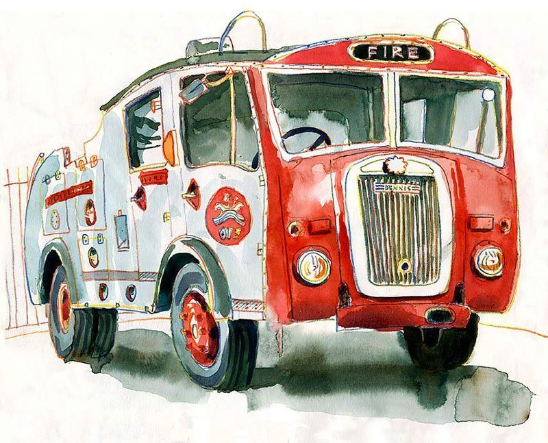 Urban sketch fire engine