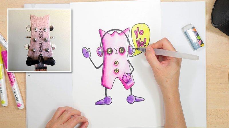 cartoon inspiration from a guitar