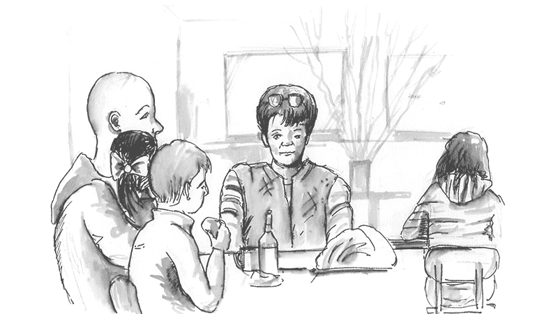 National Gallery Cafe people sketch family