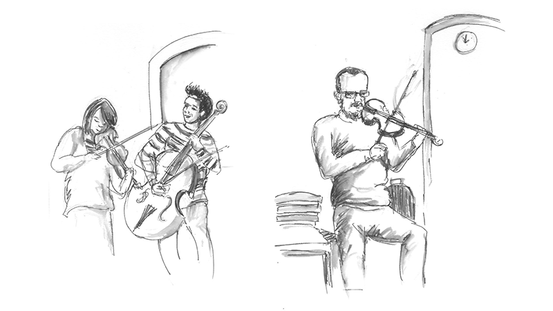 musicians drawing people london urban sketching