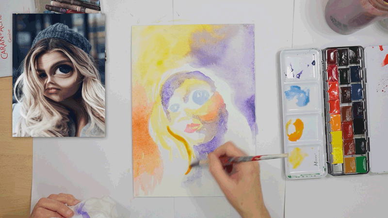 watercolour underpainting abstract face