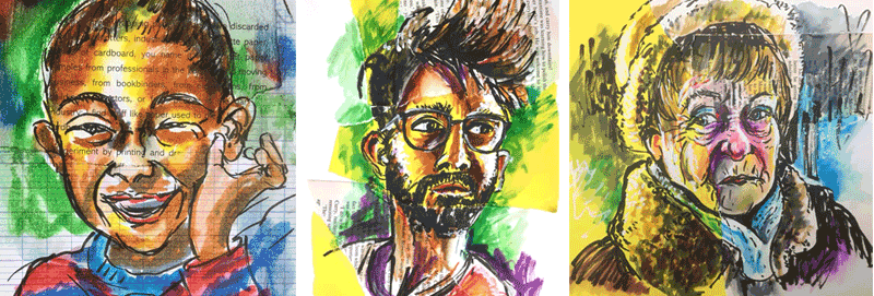 collage faces using watercolour brush pens