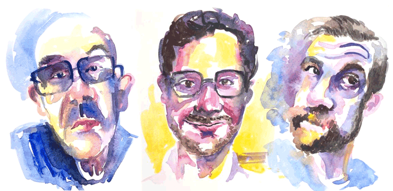 watercolour faces loose art style