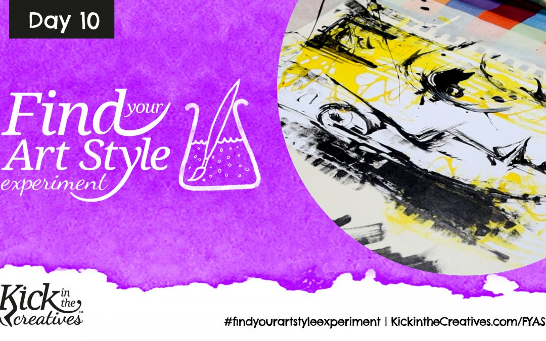 Find Your Art Style Experiment Day  10 – Mark Making with Acrylic Paint