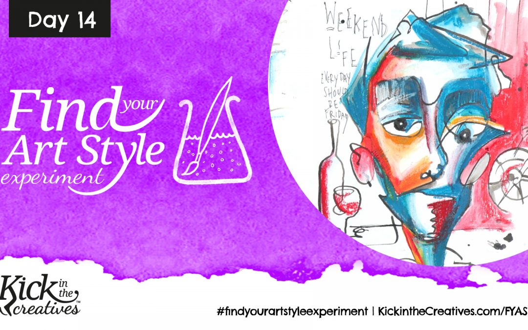 Find your Art Style Experiment Day 14 – Stylized Faces with Dip Pen