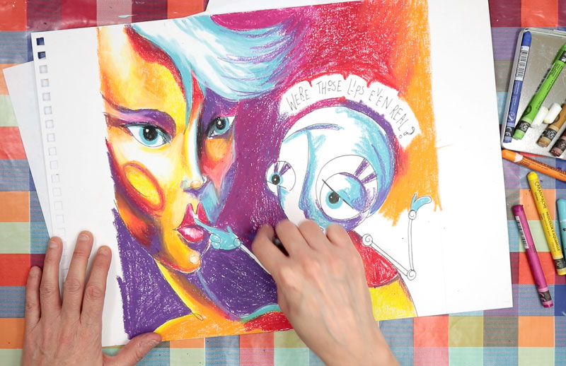 Neocolor part painting