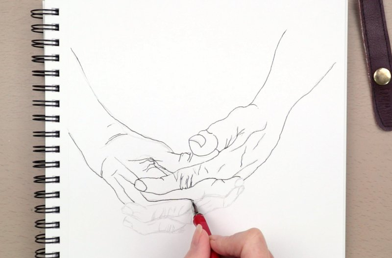knobbly hands drawing