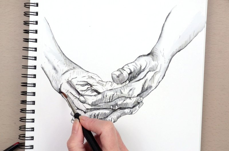 old hands drawing