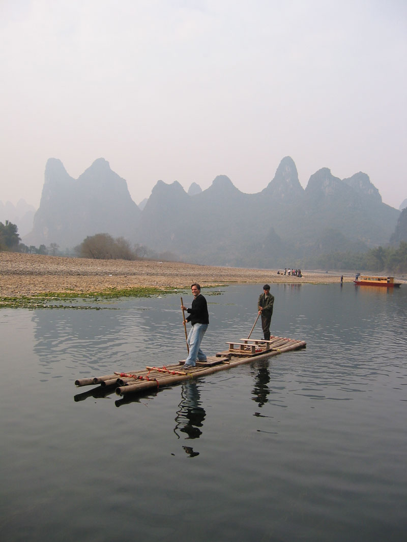 Eric on a bamboo raft on the Li River Guilin China
