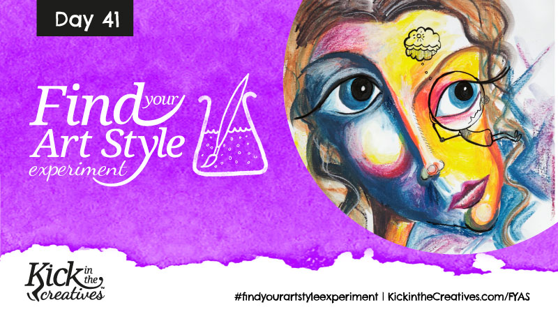 Find Your Art Style Experiment Day 41 – Inktense Blocks Abstract Face