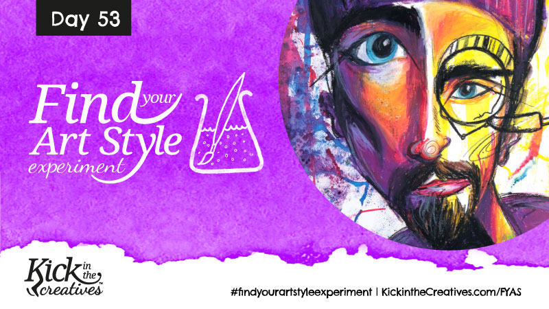 Find Your Art Style Experiment Day 53 – Abstract Face Over Ink Background
