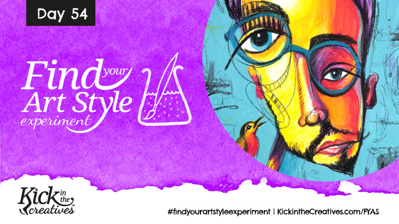Find Your Art Style Experiment Day 54 – Abstract Face With Spectacles
