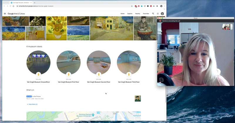 Sandra Skype virtual gallery visit