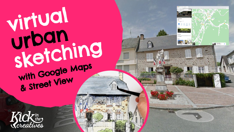 Virtual Urban Sketching with Google Maps and Street View During Coronavirus Lockdown