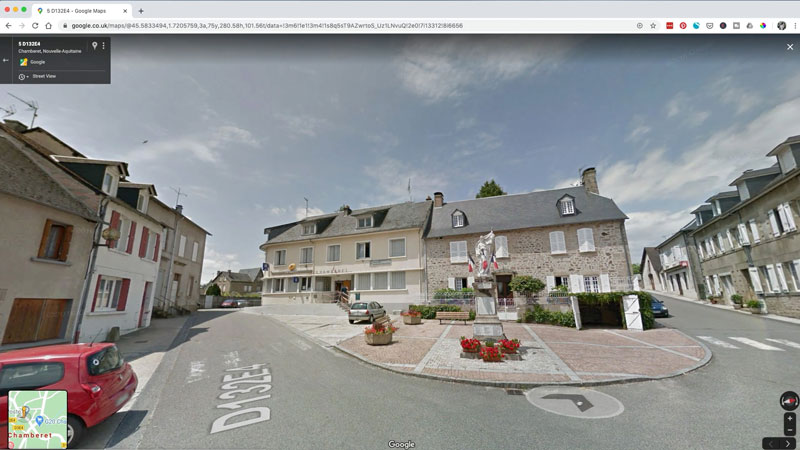 streetview building to draw in Chamberet France