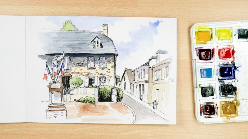 virtual urban watercolour sketch building Chamberet