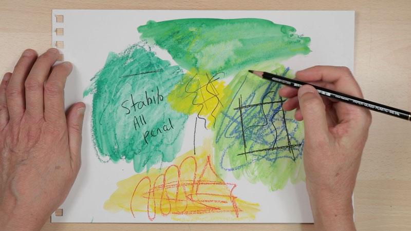 Writing over Neocolor 2 - Stabilo All pencil