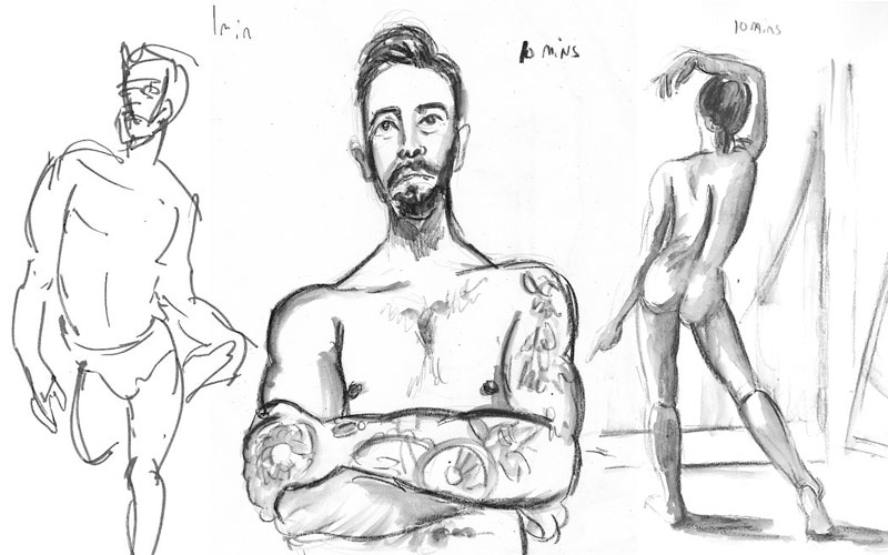 Jolly Sketcher online life drawing session sketches