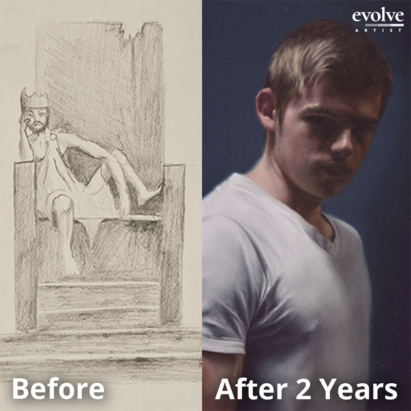Realism art student before and after Evolve lessons
