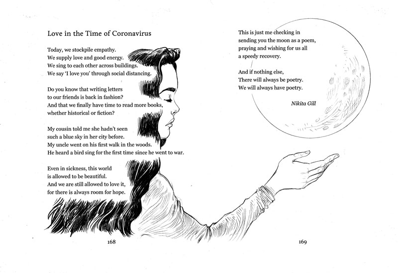 Love in the Time of Coronavirus, text (c) Nikita Gill 2020, illustration (c) Chris Riddell 2020. From Poems To Save The World With by Chris Riddell, Macmillan Children's Books