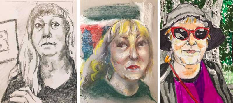 Su Watson Self Portrait Drawings from Photos